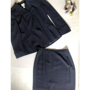 Ann Taylor Loft Suit 8 Blazer Skirt 2 piece Navy